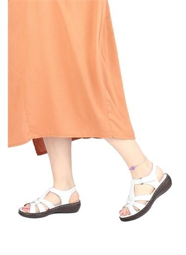 Modabuymus Modabuymus Hakiki Deri  Anatomik Dolgu nlı Sandalet - Pofty Beyaz